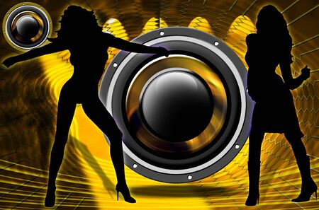 woofer: Two silhouettes of dancers in a nightclub, spotlights and woofer