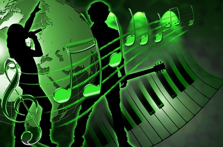 Illustration of background rock music, with a silhouette of a singer and guitarist, globe, musical stave and piano keyboard illustration