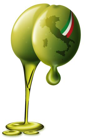 Illustration of 2 green olives with Italian territory shape and flag drops of oil and oil flow Stock Illustration - 9707282