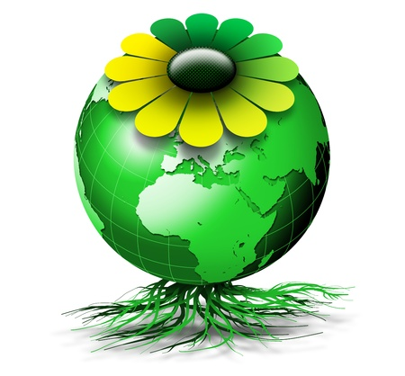 Organic green globe with colored petals and roots Stock Photo - 9707298