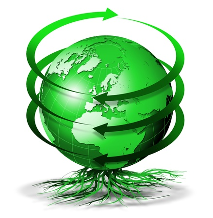 recycles: Green terrestrial globe bio with arrows of rotation and roots