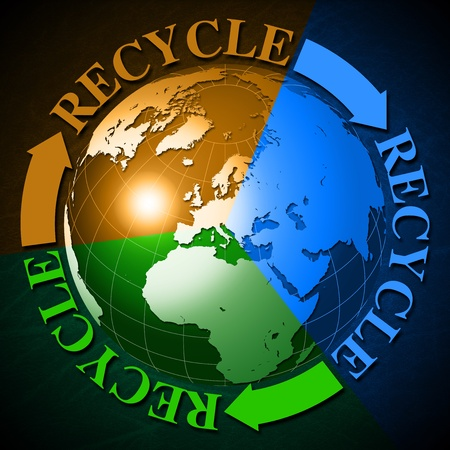 3d recycling symbol with Earth globe divided in 3 colors and the word recycle