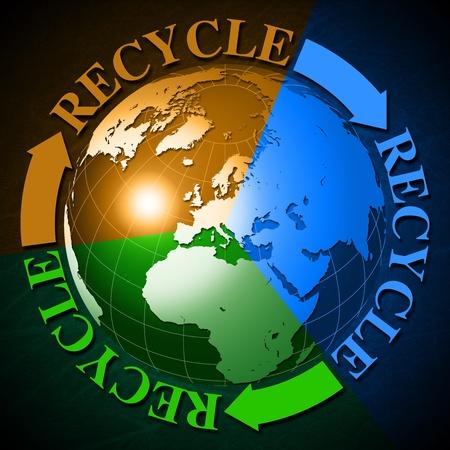 logo recyclage: symbole de recyclage 3D avec le globe terrestre est divis� en 3 couleurs et le recyclage de mot