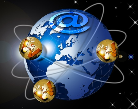 terrestrial: Illustration symbol www and internet with blue terrestrial globe, planets and stars