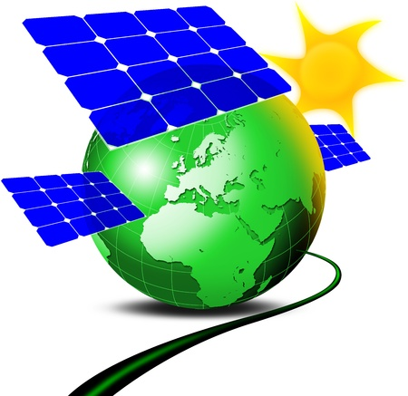 conscience: Illustration of green terrestrial globe with 3 panels blue fotovoltaici, sun and electric cable Stock Photo