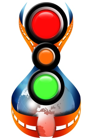 driving school: Illustration of a traffic lights, globe and road