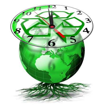 the natural world: Green terrestrial globe with roots and clock with symbol of the I recycle