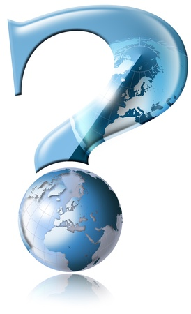 Question mark with blue globe