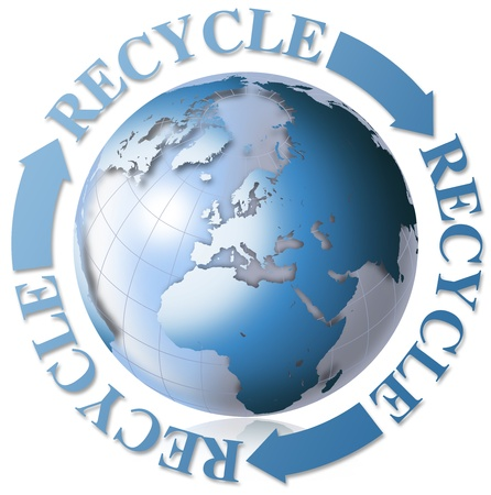 earth friendly: 3d recycling symbol with Earth blue globe