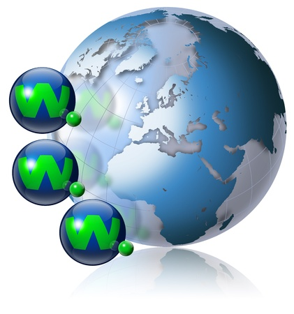 Illustration symbol www and internet with green terrestrial globe and 3 blue planets Stock Illustration - 9800275