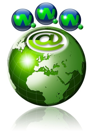 Illustration symbol www and internet with green terrestrial globe and 3 blue planets Stock Illustration - 9800278