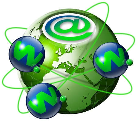Illustration symbol www and internet with green terrestrial globe and 3 blue planets Stock Photo