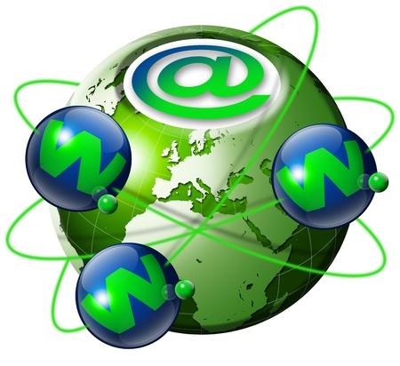 Ilustración símbolo www e internet con globo terrestre verde y 3 planetas azules