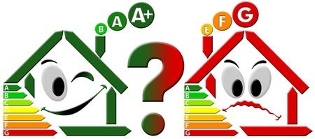 risparmio energetico: Stilizzato verde felice stilizzato e casa triste casa rossa, efficienza energetica selezionati Archivio Fotografico