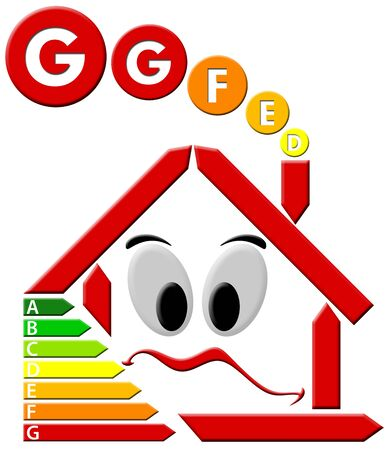 absorption: Red house stylized with sad face and chart consumes voters Stock Photo