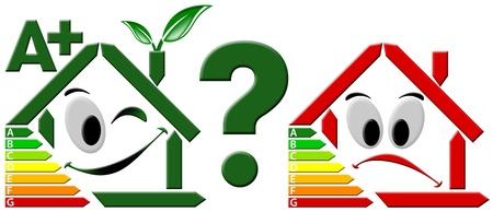 certification: Estilizada feliz inicio y estilizada triste rojo casa verde, eficiencia energ�tica seleccionado