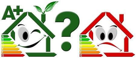 Stylized green happy home and stylized sad red house, selected energy efficiency Stock Photo - 9800269