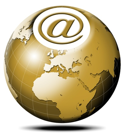 pulsating: Pulsating icon with symbol e-mail and terrestrial globe