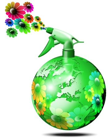 Aerosol spray to globe-shaped green flower sprays Stock Photo - 9800279