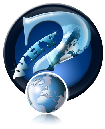 Blue question mark icon with globe and reflection