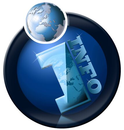 request: Icon information with blue terrestrial globe and written info Stock Photo