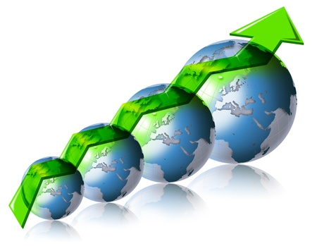 forecasts: Diagram positive trend of the world market with 4 globes and green arrow Stock Photo