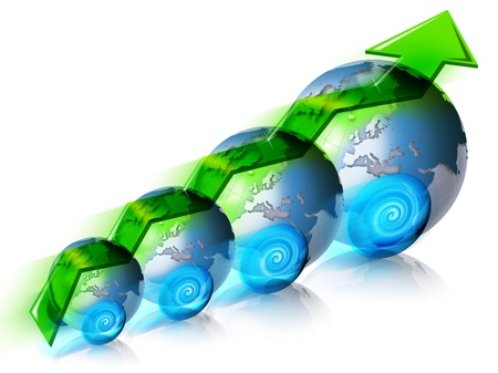Locomotive with a positive diagram of the global market, with 4 globes, green arrow Stock Photo - 9800288