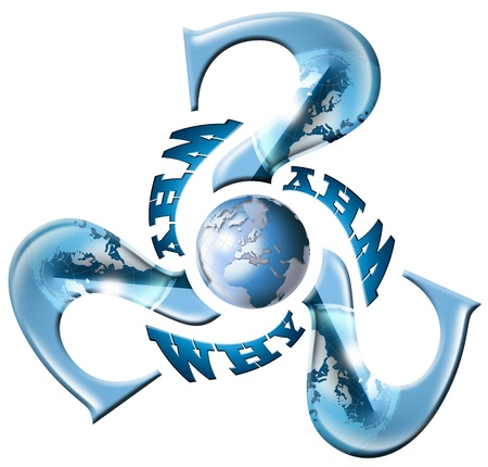 3 Question marks with blue globe and why written photo