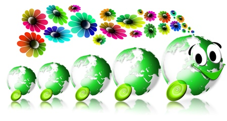 Locomotive smiling with 4 green globes and flowers coming out the chimney Stock Photo - 9800293