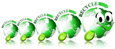 Locomotive and train consisting of 4 green globes with the word recycle and smiling face photo