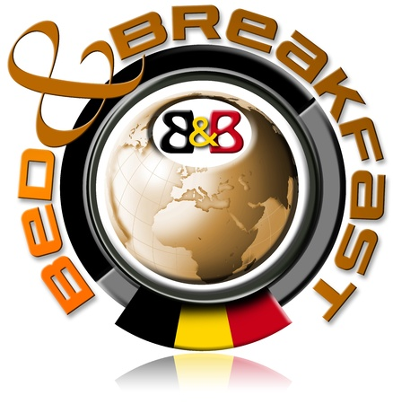 Illustration bed and breakfast with the globe, written bed & breakfast, Belgium flag illustration