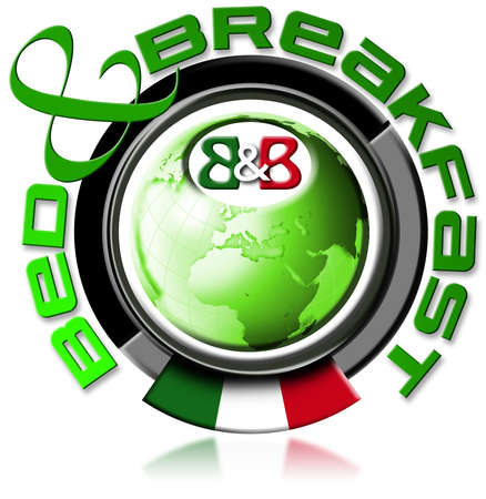 Illustration bed and breakfast with the globe, written bed & breakfast, italian flag illustration