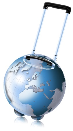 advantageous: Trolley-shaped blue globe for travel by plane, ship and train Stock Photo