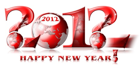 written 2012, happy new year and the question mark symbol photo