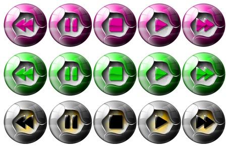 Music player buttons: 3 sets of buttons to control audio Stock Photo - 9800352