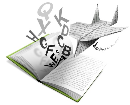 poezie: Boek van de literatuur open met papieren vliegtuigje en letters Stockfoto