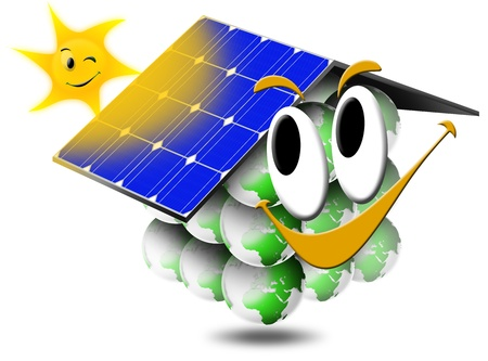 photovoltaic cell: Ecological home smiling with photovoltaic panels and sun with a smile