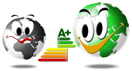 selected: Globe happy and sad, selected energy efficiency Stock Photo