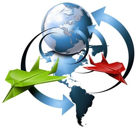 agencia de viajes: Ilustraci�n con globo, mapa de las Am�ricas, flechas y 2 planos