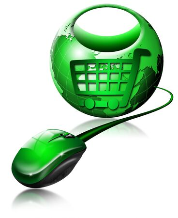 internet icon: Mouse and globe shaped shopping bag, symbol of shopping Stock Photo