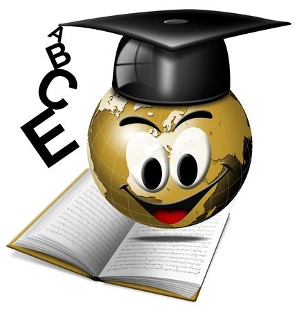 capable of learning: Humorous illustration university degree with globe smiling Stock Photo