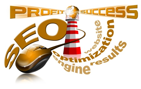 increase visibility: Lighthouse SEO - Search engine optimization web Stock Photo