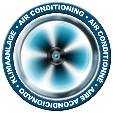 Ventilation: Symbol air conditioning in 4 languages : English, French, Spanish, German