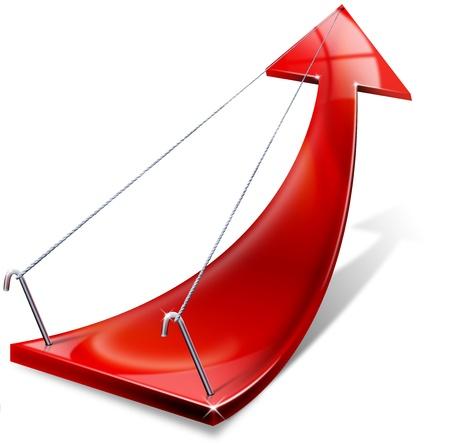 productividad: Flecha roja positiva