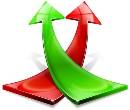 productividad: Verde y rojo de flecha curvada hacia arriba, el concepto de �xito econ�mico y de negocios