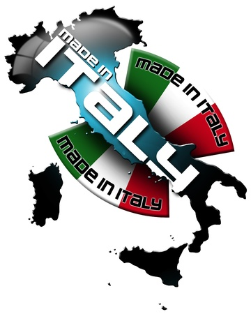 icon Made in Italy, with Italian territory and the Italian flag