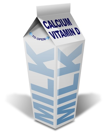 White packaging of milk with milk written, calcium and vitamin d photo