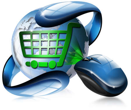 purchase order: Mouse, globe and shopping cart symbol