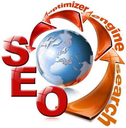 web hosting: SEO red arrow - Search Engine Optimization Web Stock Photo