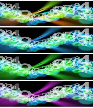 glows: Four banners with black backgrounds blurred, reflexes and numbers
